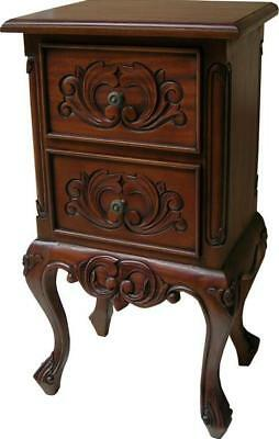 French Antique Style Carved Mahogany Bedside Table 2 x Drawers H73 D30 W40cm