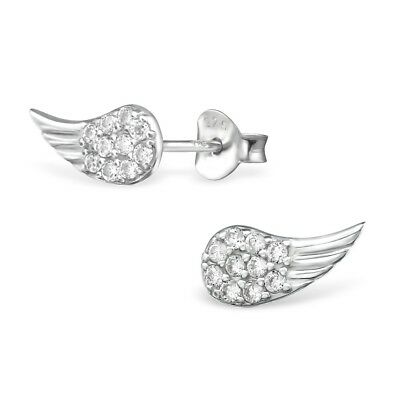 925 Sterling Silver CZ Crystal Wings Angel Beautiful Stud Earrings Gift Box