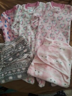 f4230f6cb608 LOT OF 5 Baby Girl Sleepers Carters Fleece Terry 6-9 Months Button ...