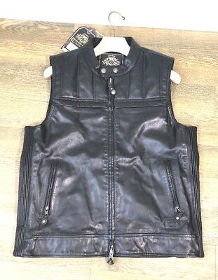 New Roland Sands Design Colt Men's Black Leather Vest  (Small)