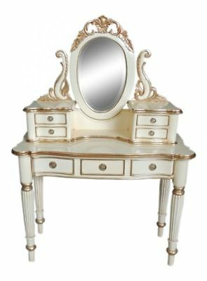 White & Silver Mahogany Reproduction Victorian Dressing Table + Mirror H148cm