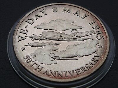 One Oz 999 Silver 1995 Turks & Caicos 20 Crowns Ve-Day Peaceful Flight 50Th Anv