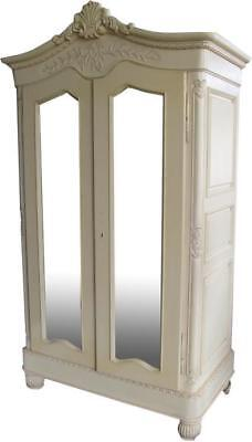 Antique White Mahogany French Armoire H210 W118cm Carved Mirror Door Wardrobe