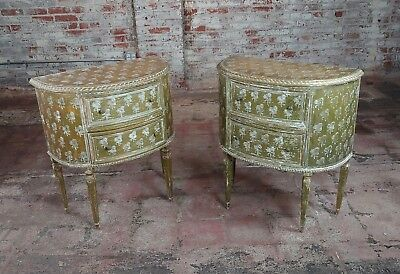 Antique Italian Florentine Demilune Gilt-wood Commodes -A pair -