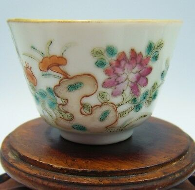 An Antique Mid C18th Century Chinese Famille Rose or Verte Porcelain Cup Bowl!
