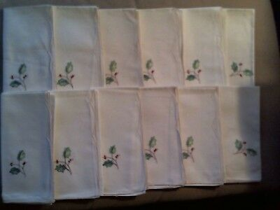 12 Christmas Napkins Embroidered Red/Green Holly On Linen/Cotton Blend