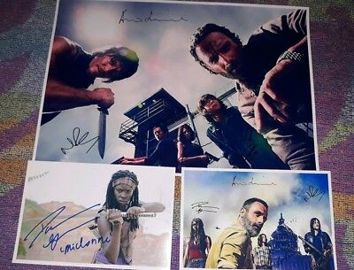 The Walking Dead Cast Signed Poster & Pictures. Rick. Daryl. Zombies. Season 9.