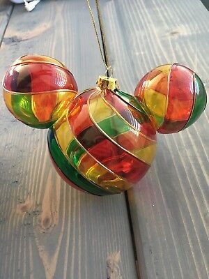 Disney Parks Mickey Mouse Stained Glass Christmas Ornament