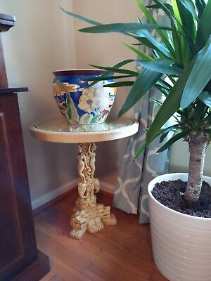 Antique Oriental Wine Side Lamp Table Chinese Carved Stone Resin, 20th Century