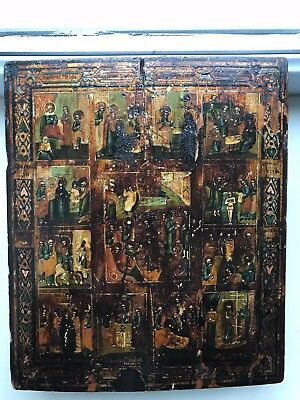 """Antique 19c Russian Hand Painted Wood Icon """"Holidays"""""""