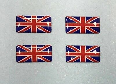 4 x MINIATURE UNION JACK FLAG DOMED GEL STICKERS Red, White & Blue HIGH GLOSS
