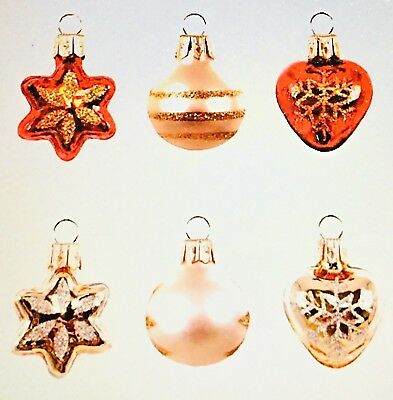 2018 Hallmark Keepsake Mini Decorative Baubles Glass Ornaments, Set of 6 NEW
