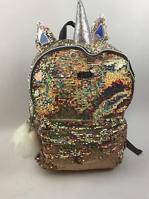 Justice Girls Unicorn 🦄 Gold Flip Sequin Backpack NEW QLT1 D18 Sold Out