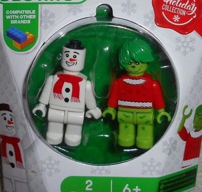 2 Holiday SNOWMAN/GRINCH building blocks MINI FIGURES LEGO compatible USA GIFT!
