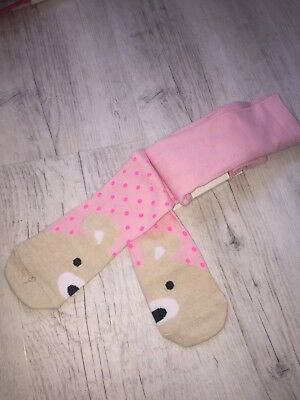Girls Pink Spotted Animal Face Tights NWT Age 4/5/6 Years
