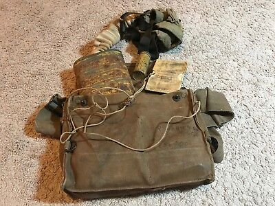 1918 US AEF issued British made SBR gas mask w/ extras