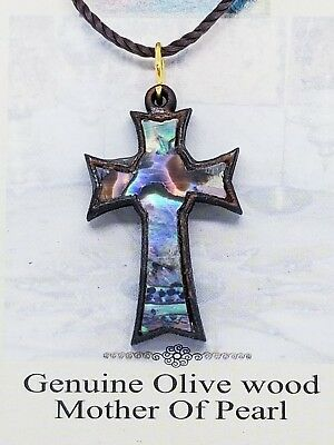 "Holy Land Olive Wood Mother Of Pearl Cross Necklace Bethlehem Made 1.5"" Point"