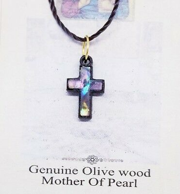 Holy Land Olive Wood Mother Of Pearl Cross Necklace Made In Bethlehem 5/8""