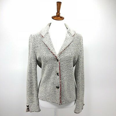 St John Collection by Marie Gray Blazer 10 Womens Blue White Jacket E43