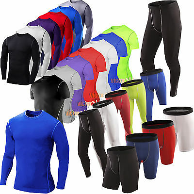 Mens Compression Armour Thermal Base Layer Jersey Shirt Tops Shorts Pant Workout