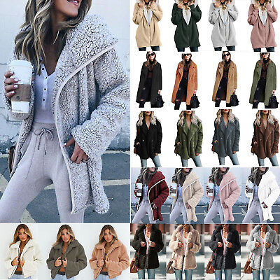 Women Winter Warm Teddy Bear Fleece Jacket Ladies Casual Fur Trench Coat Outwear