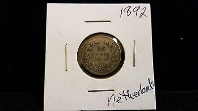1892 Netherlands 25 Cents Silver Coin .0736 ASW
