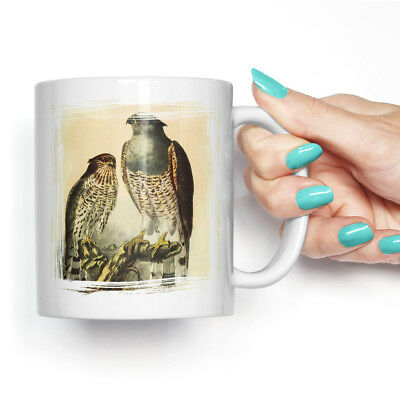 Coffee Mug Tea Cup Ceramic Vintage Natural History Cuckoo Falcon Retro Animal