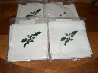 (8) New Longaberger~Christmas Napkins~Green Holly w/Red Berries~(4)Packs w/(2)ea