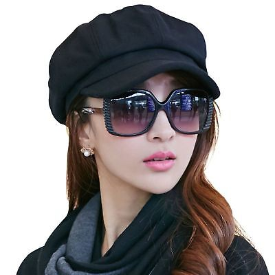 75f06324b7b2d SIGGI Womens Visor Beret newsboy Hat Cap For Ladies Merino Wool 67145 black  New