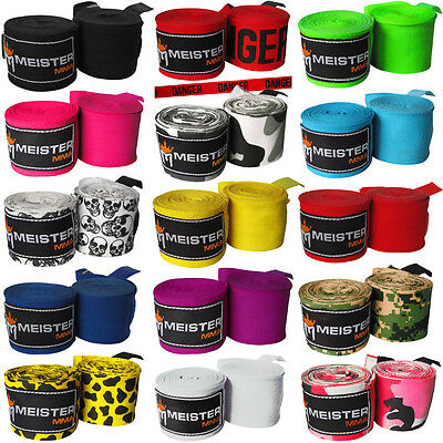 "MEISTER 180"" SEMI-ELASTIC HAND WRAPS - PAIRS MMA Boxing Mexican Lot ALL COLORS"