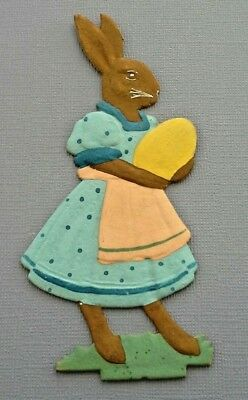 Special Vintage Hand Painted GERMAN EMBOSSED PAPER  DIE CUT EASTER BUNNY