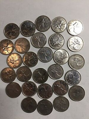 Lot Of 28 80% Silver Canadian Quarters 50's & 60's