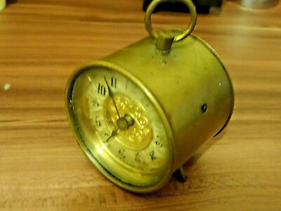 Antique British Brass Drum Table Clock