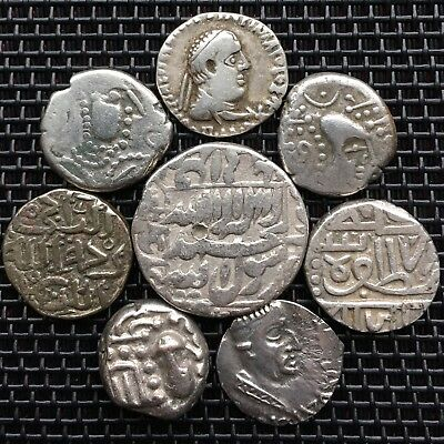 Lot Of Old Coins & Ancient Coins,Islamic,Roman,Greek,India X 8 Silver Coins.