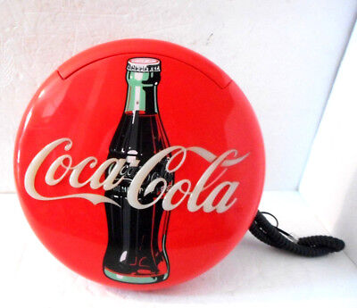 "Coca Cola Telephone Sign Wall Hanging Phone 1995 Works 12"" Round    **WOW**"