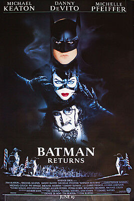 BATMAN RETURNS - 1992 ORIGINAL AUTHENTIC MOVIE POSTER 41x27 ROLLED DOUBLE SIDED