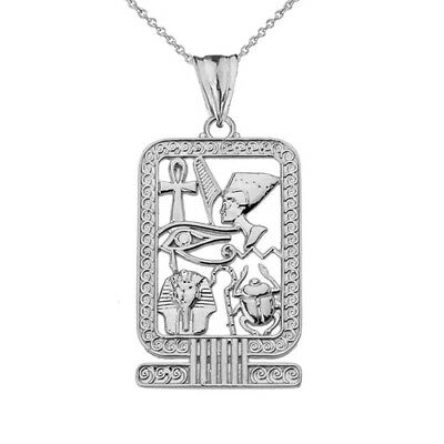 Solid 10k White Gold Ancient Egyptian Cartouche Pendant Necklace