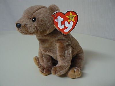 Ty Beanie Baby PECAN Plush Brown Sitting Bear with Black Eyes Original
