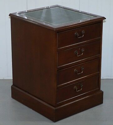 Mahogany With Green Leather Double Filing Cabinet Matching Desk Available Silver