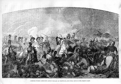Historic Antique Engraving 157 Yrs Old Charge Of Somersets Brigade Waterloo 1815