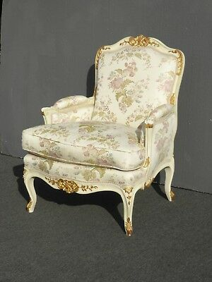 Vintage French Louis XVI Rococo White Bergere Accent Chair Down Feather Cushion