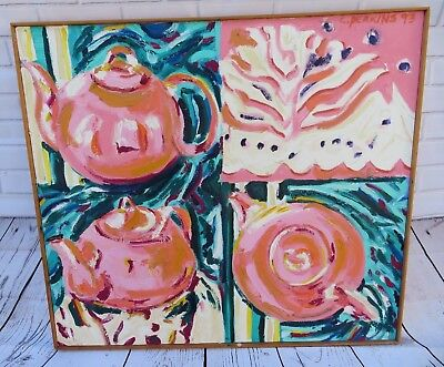 Large Modern Pop Art Abstract oil painting signed Perkins on canvas wood framed