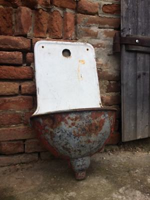 Unique Vintage Cast Iron Heavy Wall Sink Eye-Catching Planter Decoration