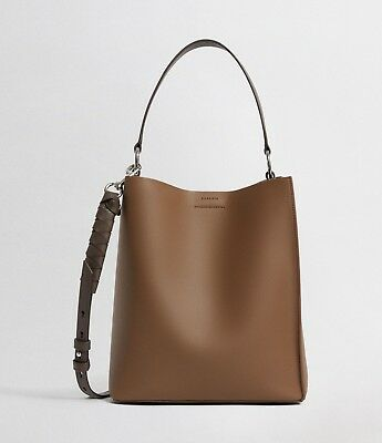 AllSaints Voltaire Leather Small North South (SM NS) Tote,Chocolate,Shoulder Bag