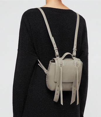 ALLSAINTS Fin Leather Mini Backpack in Natural Grey, Small Racksack/Backpack NEW