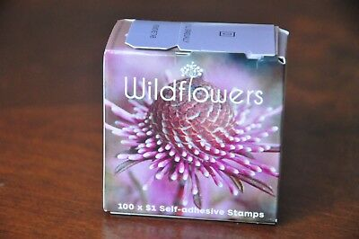 Box of 100 $1 Self Adhesive Stamps Wildflowers - Unopened Box - BRAND NEW
