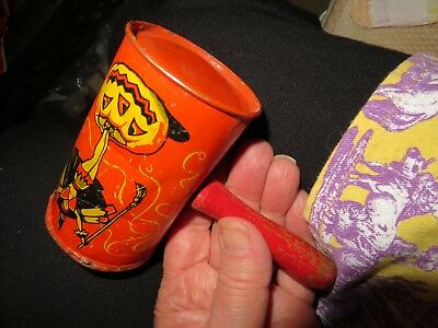 Another tin litho. Halloween noisemaker.  'Beautiful witch'.