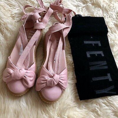 4c2b9242320  180 NEW FENTY PUMA by Rihanna Bow Leather Lace Up Creeper Sandal in PINK  Sz 8