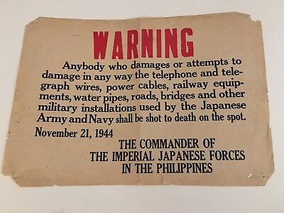 "WWII WW2 Imperial Japanese Warning Poster Frm Phillipines-RARE Original 10""x14"""