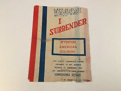 "WWII WW2 Japanese Surrender Leaflet About 9""x12"" RARE Original"